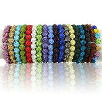 lot 10mm Disco Mixed Gradient Colorful Crystal Shamballa Beads 18 Colors