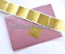 50 Large GOLD Square sticker seals embossed metallic foil stickers envelope seal