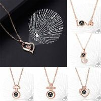 I LOVE YOU in 100 languages Rose Gold Pendant Necklace For Memory of LOVE