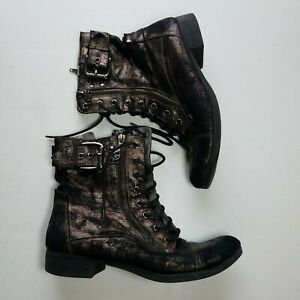 G By Guess Combat Boots Womens 7.5 Brown Gold Vegan Buckle Distressed Lace Up