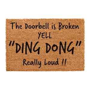 Ding Dong Large Indoor Outdoor Mat Non Slip Coir Doormat Front Door Matt Rug UK