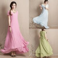 Women's Maxi Vintage Dress Summer Holiday Tiered Empire Waist Sundress Plus Size