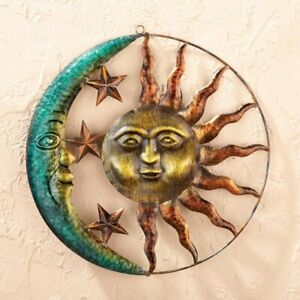 Dimensional Rustic Finish Celestial Sun and Moon Garden Hanging Metal Sculpture