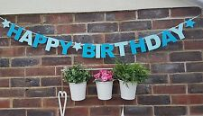HAPPY BIRTHDAY SON BOY GARLAND BANNER PARTY BUNTING DECORATION BLUE.