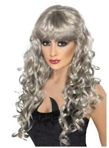 LADIES Halloween Long Curly Silver Grey Witch WIG Fancy Dress Costume