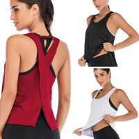 Breathable Women Backless Workout Tank Top T-shirt Sport Fitness Yoga Vest Loose