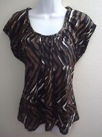 top blouse large l womens casual stretch black brown white print short sleeves