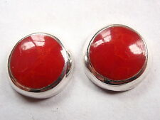 Red Coral 925 Sterling Silver Stud Earrings Corona Sun Jewelry 10mm Round