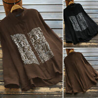 ZANZEA Women Buttons Down Long Shirt Tops Floral Print Blouse Asymmetrical Tops