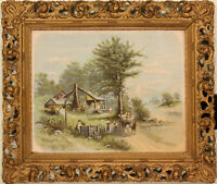 ANTIQUE JOSEPH HOOVER PIERCED & GESSOED WOOD FRAME WITH COLOR PRINT