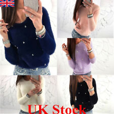 UK New Fashion Women Long Sleeve Fluffy Sweater Jumper Pullover Sweatshirt Tops