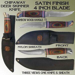"NEW CHIPAWAY DEER SKINNER HUNTING KNIFE WITH 4"" SATIN FIISH BLADE & SHEATH"