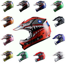 Youth Motocross Helmet ATV MX BMX Bike Kids Shark Star Black Blue Red Pink Green