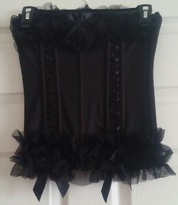 """""""SEVEN 'TIL MIDNIGHT"""" Women's Black Lace Up Bustier & Matching Thong Size M"""