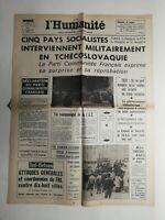 N388 La Une Du Journal L'humanité 22 août 1968 5 pays socialistes Tchécoslovaqui