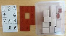 2005 Stampin Up WHIMSICAL NUMBERS 12pc RUBBER INK STAMP SET 0-9 # Flower