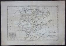1787 LE ROYAUME D'ESPAGNE ET DE PORTUGAL map Bonne Desmarest España Spain Spagna