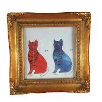 WARHOL Red & Blue Cats Sam Print Repro w Vtg Ornate Gold Frame POP Art 7 x 7