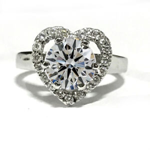3.20 Ct White Simulated Solitaire Diamond Anniversary 925 Sterling Silver Ring