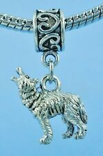 Adorable 3 D howling Wolf Charm add to Bracelet Or Necklace