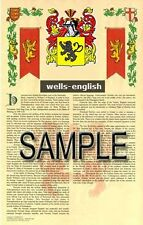 WELLS Armorial Name History - Coat of Arms - Family Crest GIFT! 11x17