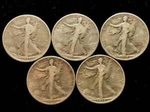 1918 Walking Liberty 50c ~ 90% SILVER ~ LOT OF FIVE (5) COINS 22EJ