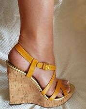 Michael Kors - Mustard Gold Leather Wedge Sandals with Cork Heels