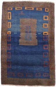 Tribal Bordered Vintage Small 3X5 Blue Gabbeh Oriental Area Rug Plush Carpet