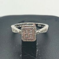 Elegant Sterling Silver 925 Geometric Diamond Cluster Pave Halo Cocktail Ring 7