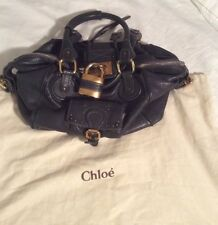 AUTH CHLOE SATCHEL SHOULDER BAG PADDINGTON LEATHER NAVY GOLD PADLOCK