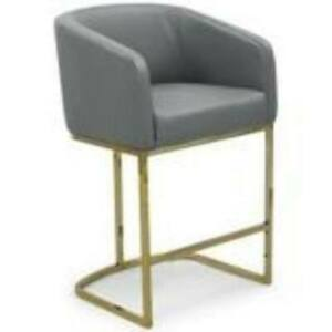CHIC GREY TESS COUNTER STOOL CHAIR LEATHER UPHOLSTERED FCS9471