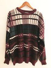 Vintage Le Tigre Sweater Crosby Purple Teal Black White Mens Size 2X Big Man