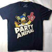 THE SIMPSONS Homer Simpson Animal Party Matt Groening Blue T-Shirt Size M