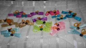 Precious Gems ASSORTED DOG Hair bows double PRO-GROOM bands