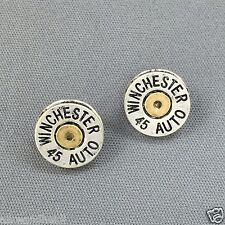 Antique Silver Gold Winchester 45 Auto Bullet Shell Design Stud Back Earrings