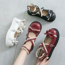New Japanese Lolita Girls Faux Leather Flats Mary Janes Bowknot Round Toe Shoes