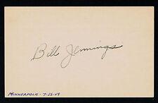 Bill Jennings (d. 2010) signed autograph auto 3x5 card Baseball Player F1630