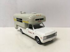 1968 68 Chevy C-10 With Silver Streak Camper Collectible 1/64 Scale Diecast