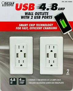 Feit Electric 2PK Wall Outlets With 2 USB Ports 4.8 Amps 2 Pack NEW