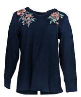 Denim & Co. Women's Top Sz M Waffle Knit Long-Sleeve Split V-Neck Blue A367916