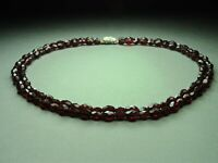 Vintage Czech Bohemian 2-Row Garnet Cut Glass Bead Necklace