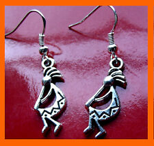 Silver KoKopelli Fertility Deity Earrings on .925 Sterling Silver French Hooks.