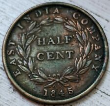 1845 East India Co Half Cent KM #2 XF Coin