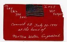 """""""Oh Say Can You See"""" Vintage Homemade Anthem PC Patriotic Flag—Amherst Ohio 1944"""