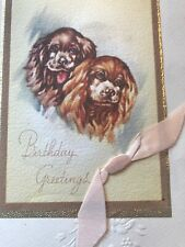 Vintage Greeting Card Birthday Cocker Spaniel Dogs Brown Buff Stains Linen