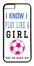 Soccer Girl Quote Pink Ball Futbol Black Case Cover for iPhone 4s 5 5s 5c 6 6+