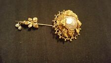 miriam haskell  vintage gold and white brooch