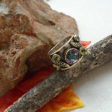 Mystic Topas & Peridot grün vergoldet Design Ring, Ø 17,5 mm 925 Sterling Silber