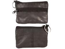 UNISEX NEW REAL SOFT LEATHER BLACK SMALL PURSE MONEY BAG ZIPPED KEY RING POCKET