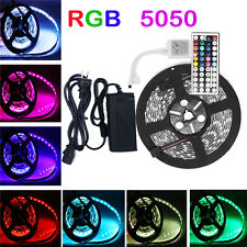 300 LED 5M SMD 5050 Waterproof RGB Strip Light & 44 Key IR Remote & 12V Power US